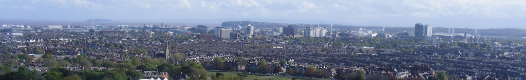 View of Cardiff across Roath towards the city centre