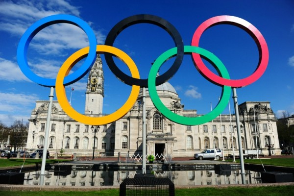 Olympic Rings outside City Hall, Cardiff