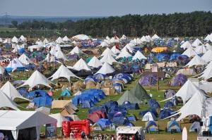 Tents set up at a festival
